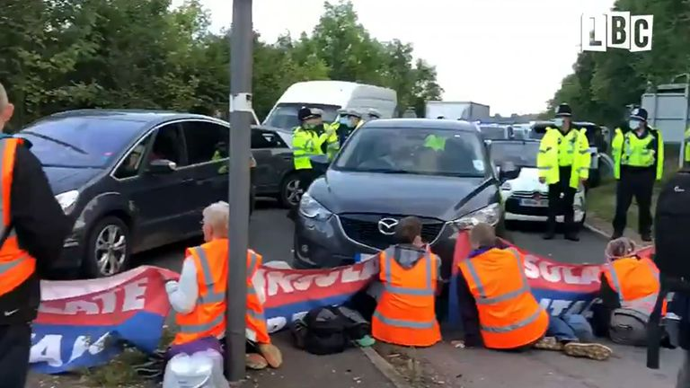 Several protesters held up traffic on the M25. Pic: LBC