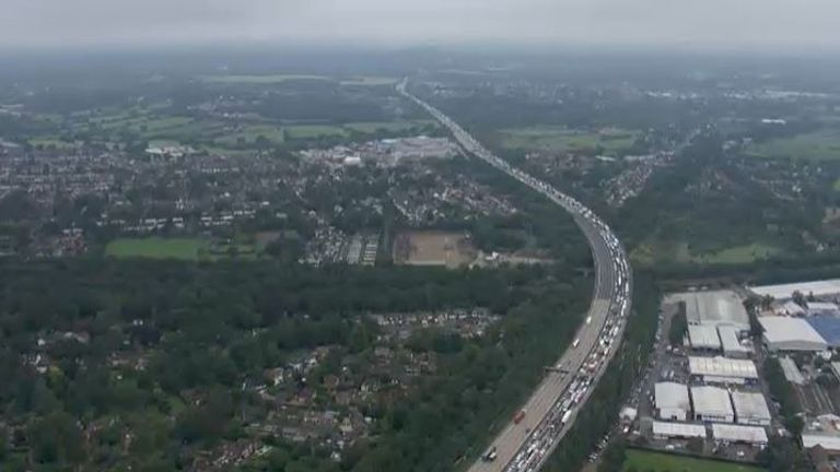 An aerial shot of the huge traffic queues on the M25 due to the protests