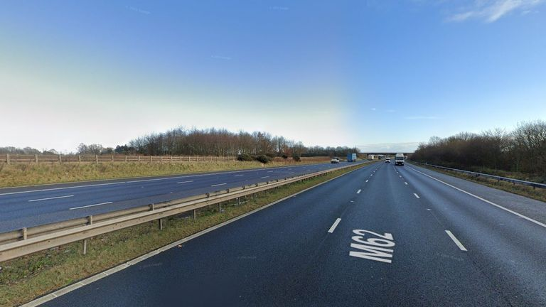 The crash happened on the M62. Pic: Google Maps