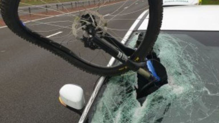 The wheel smashed into the Ford Focus on the M9. Pic: Police Scotland