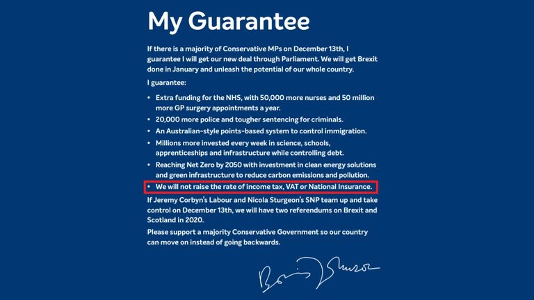 The 2019 Conservative manifesto included a personal 'guarantee' from Boris Johnson that there wouldn't be tax rises