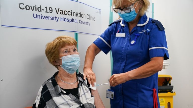EMBARGOED TO 1700 FRIDAY SEPTEMBER 24 Margaret Keenan, the first person to receive the coronavirus vaccine in December last year, receives her booster jab at University Hospital Coventry, Warwickshire