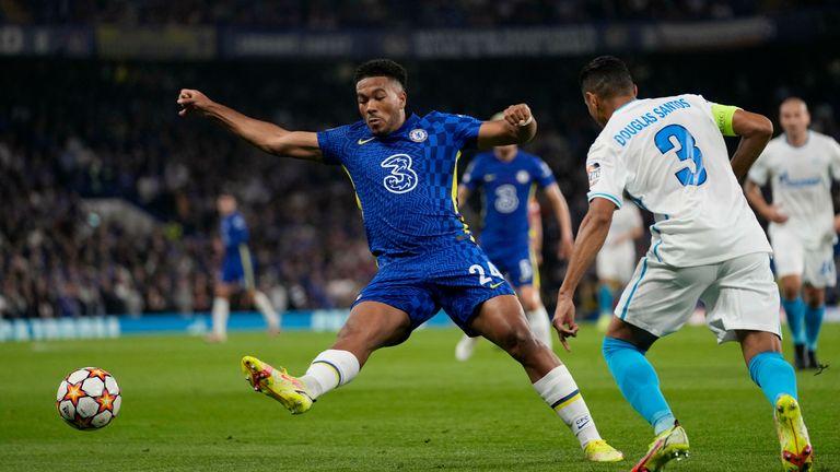 Chelsea's Reece James, left, challenges for the ball with Zenit's Douglas Santos during the Champions League Group H soccer match between Chelsea and Zenit St Petersburg at Stamford Bridge stadium in London PIC:AP