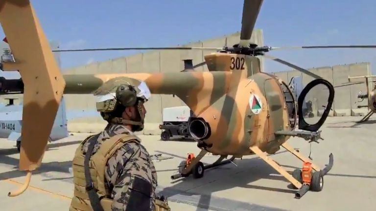MD-530 transporter helicopters can be seen in footage captured at the airport as the Taliban entered. Credit: Nabih Busol / LA Times