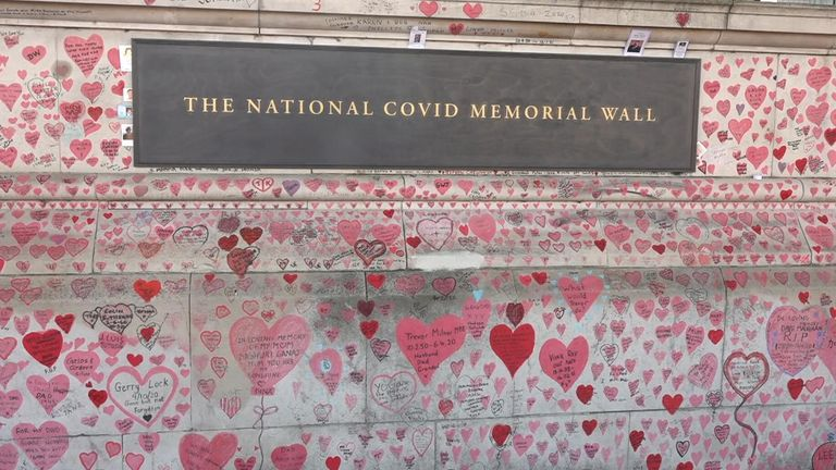 The memorial wall is opposite the Houses of Parliament