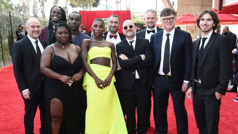Michaela Coel and the I Will Destroy You team at the 2021 Emmys. Pic: Dan Steinberg/Invision/ Television Academy/AP