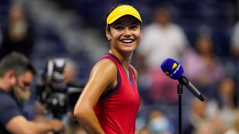 Emma Raducanu, of Great Britain, reacts after defeating Maria Sakkari, of Greece, during the semifinals of the US Open tennis championships, Thursday, Sept. 9, 2021, in New York.  PIC:AP