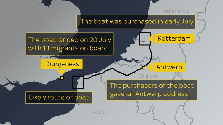 Likely route of the boat from near Rotterdam to Dungeness
