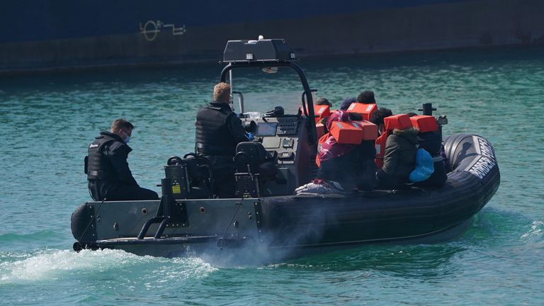 One boat group is brought ashore in a Border Force vessel