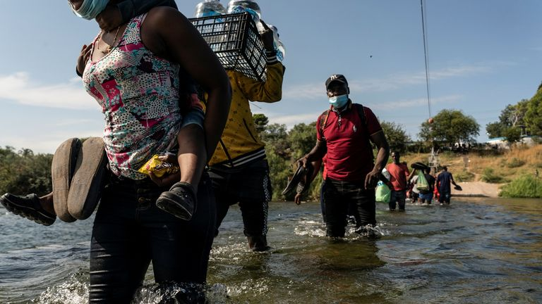 Supplies are running low in the makeshift camp, with people going back into Mexico for food and water