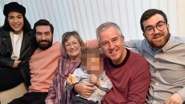 Ross McCarthy (right) with his family, including his father (second right)