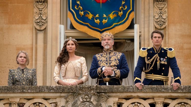 Minnie Driver and Pierce Brosnan (middle) add some Hollywood star power to the film. Pic: Amazon Studios