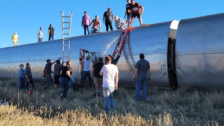 This photo provided by Kimberly Fossen shows an Amtrak train that was derailed in north-central Montana. Pic: Kimberly Fossen via AP