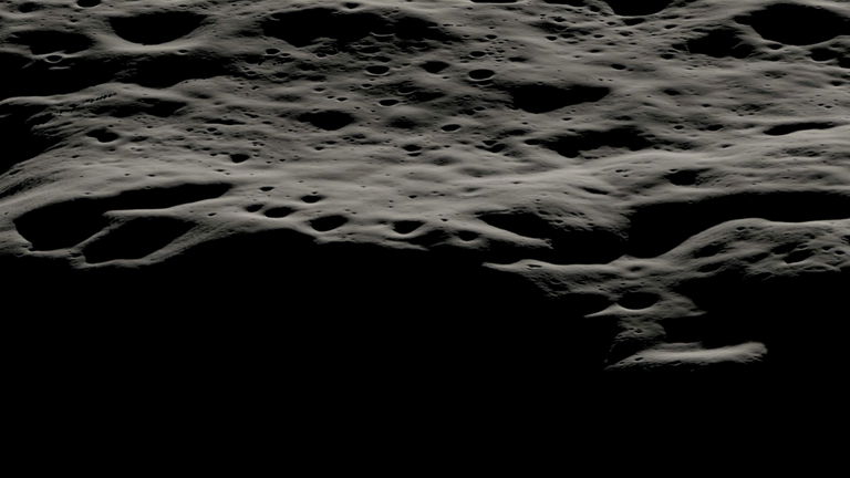 A data visualization showing the mountainous area west of Nobile Crater and the smaller craters that litter its rim at the lunar South Pole. The region features areas permanently covered in shadow as well as areas that are bathed in sunlight most of the time. The terrain in the Nobile region is most suitable for the VIPER rover to navigate, communicate, and characterize potential water and other resources. Credits: NASA