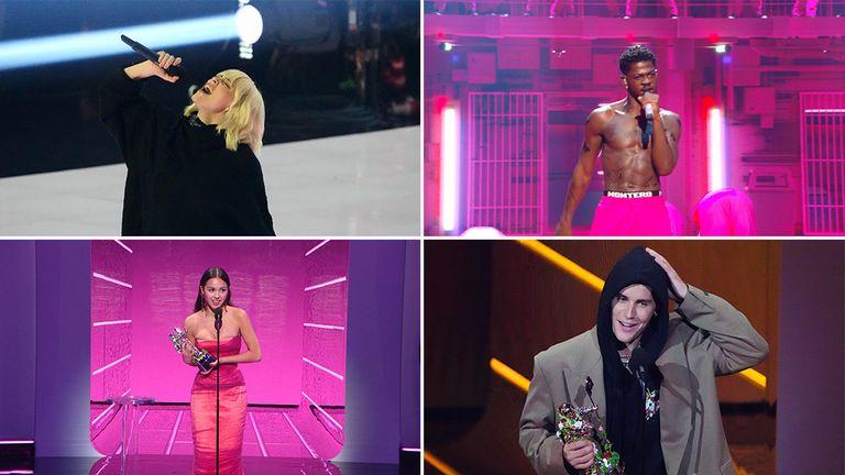 Billie Eilish, Olivia Rodrigo, Justin Bieber and Lil Nas X were among the big winners at the awards. Pics: Charles Sykes/Invision/AP