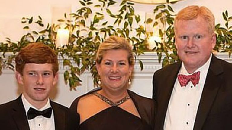 Alex Murdaugh (far right) found the bodies of wife Maggie and son Paul in June. Pic: Facebook
