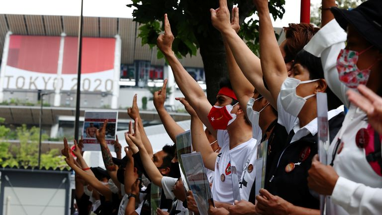 Protests took place before the Tokyo Olympics this summer, calling for Myanmar to be banned