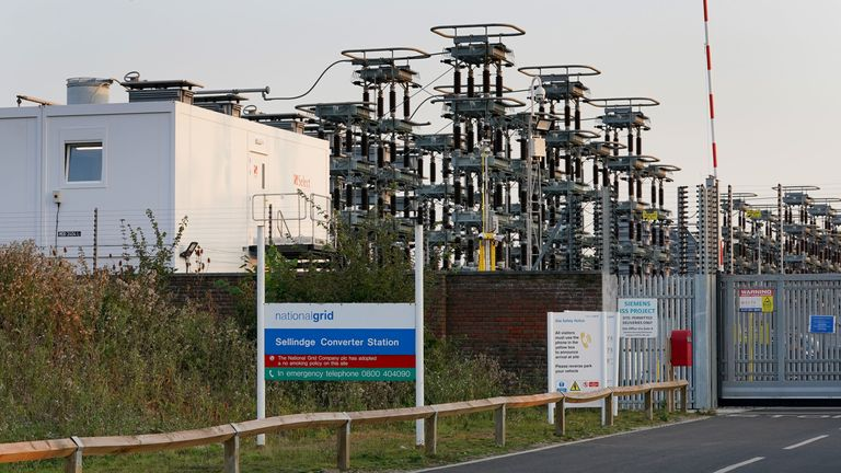 A fire broke out at the National Grid site in Sellindge, Kent