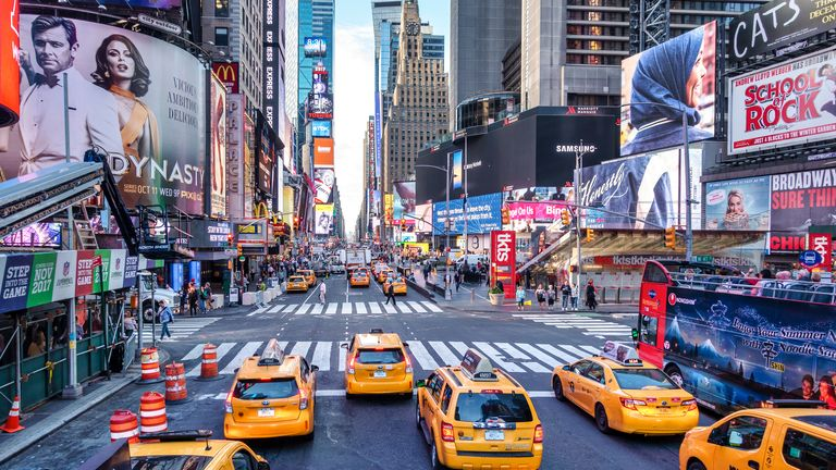 Times Square, and the rest of New York and the US, will be open to Britons from November if they're double jabbed. Pic: iStock