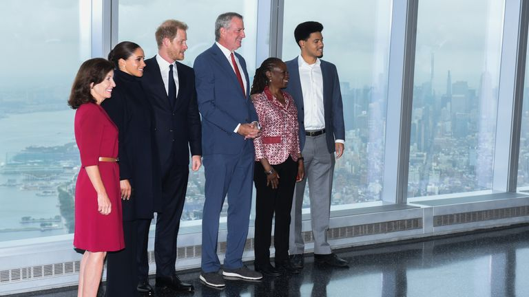 Mayor of New York of (left to right) Governor Kathy Hochul, the Duke and Duchess of Sussex, Mayor Bill de Blasio, First Lady Chirlane McCray and Dante de Blasio during a visit to the One World Observatory in New York. Pic:Office of the Mayor of New York