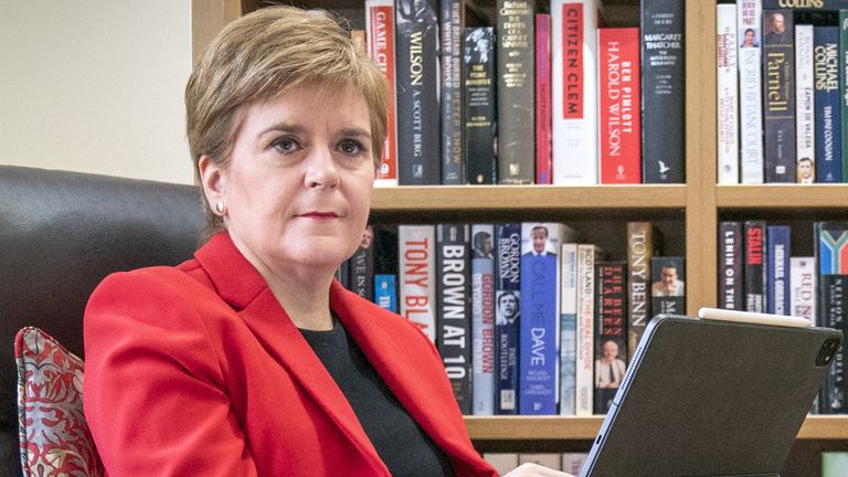 First Minister Nicola Sturgeon at her home in Glasgow preparing her speech she will give to the SNP National Conference virtually on Monday. Picture date: Sunday September 12, 2021.