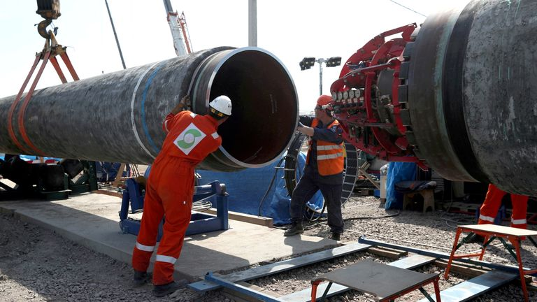 Workers at the construction site of the Nord Stream 2 gas pipeline