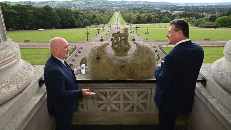 Mr Sefcovic (R) was on a fact-finding mission to Northern Ireland