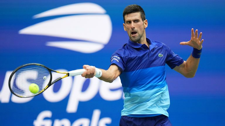 Novak Djokovic of Serbia hits a forehand against Daniil Medvedev of Russia (not pictured) in the men's singles final on day fourteen of the 2021 U.S. Open tennis tournament at USTA Billie Jean King National Tennis Center. Mandatory Credit: Danielle Parhizkaran-USA TODAY Sports