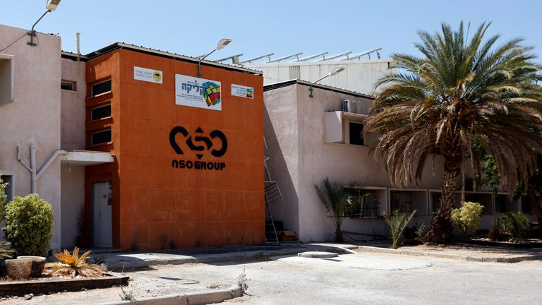 The logo of Israeli cyber firm NSO Group is seen at one of its branches in the Arava Desert, southern Israel July 22, 2021. REUTERS/Amir Cohen