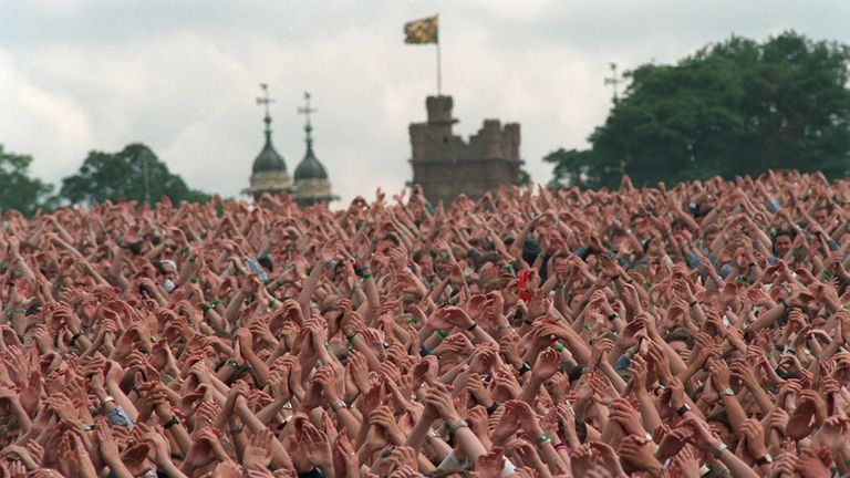 The crowd at one of Oasis's Knebworth gigs in August 1996
