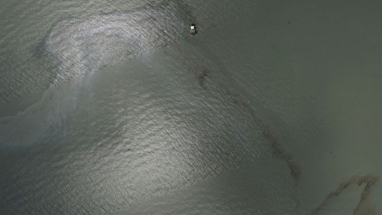 There is not yet any estimate for how much pollution has been caused by the oil spill. Pic: NOAA/Reuters