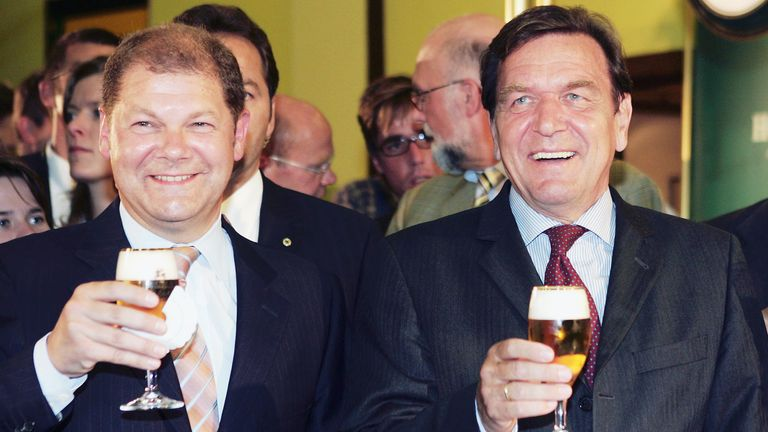 Before entering government, when he was an MP, Mr Scholz was often seen around then Chancellor Gerhard Schroeder. Pic: AP