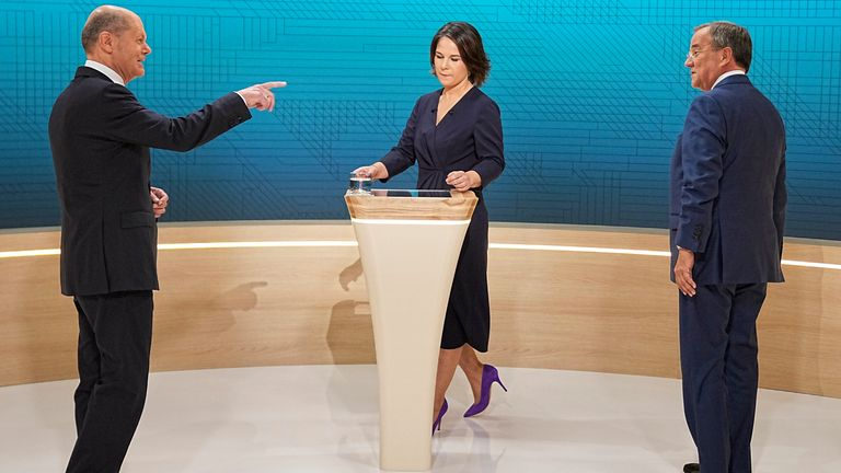 Olaf Scholz (L) is said to have won all three TV debates against the Greens' chancellor candidate Annalena Baerbock and CDU's candidate Armin Laschet. Pic: AP