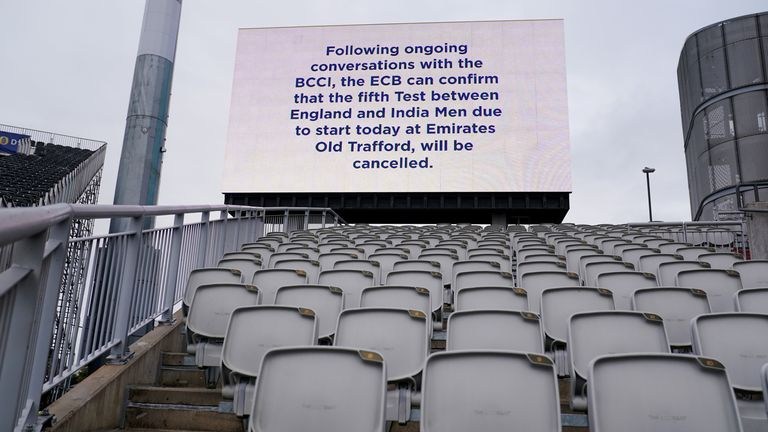 A view of a message displayed at Emirates Old Trafford in Manchester