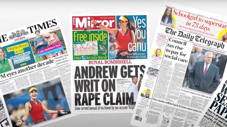 A selection of tomorrow's newspaper headlines