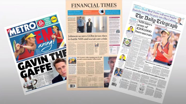 A selection of Thursday's national newspaper front pages