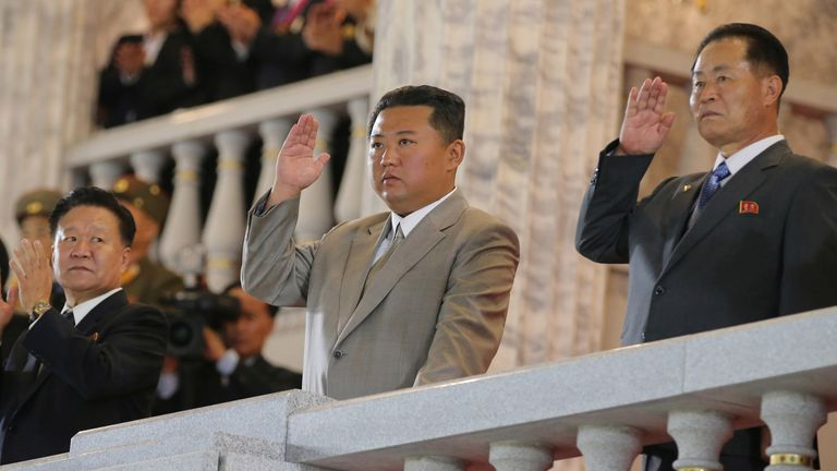 North Korea leader Kim Jong Un (C) attends a paramilitary parade held to mark the 73rd founding anniversary of the republic at Kim Il Sung square in Pyongyang in this undated image supplied by North Korea's Korean Central News Agency on September 9, 2021. KCNA via REUTERS