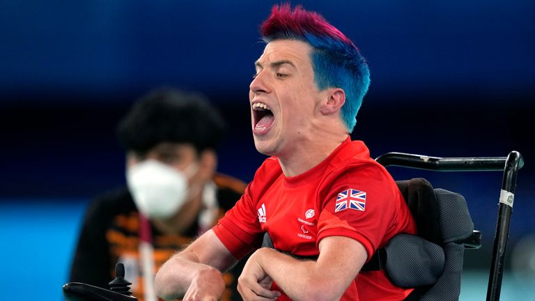 Britain's David Smith reacts during the gold medal match for Boccia individual BC1 category, against Malaysia's Chew Wei Lun, at the Tokyo 2020 Paralympic Games, Wednesday, Sept. 1, 2021, in Tokyo, Japan. (AP Photo/Shuji Kajiyama)