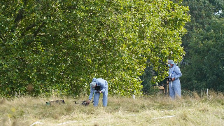 Forensic Officers in Cator Park, Kidbrooke, south London, near to the scene where the body of Sabina Nessa was found