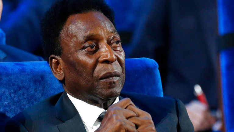 Pele, pictured in 2017, said he is feeling 'optimistic' after a tumour was removed from his colon (AP Photo/Alexander Zemlianichenko, File)