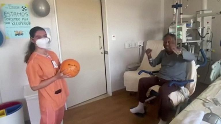 Pele plays with ball in hospital