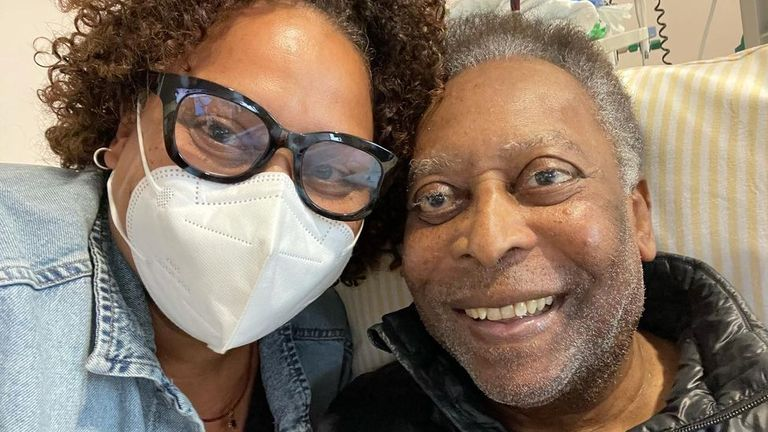 Pele's daughter said her father was 'recovering well and within normal range'. Pic: Instagram/Kely Nascimento