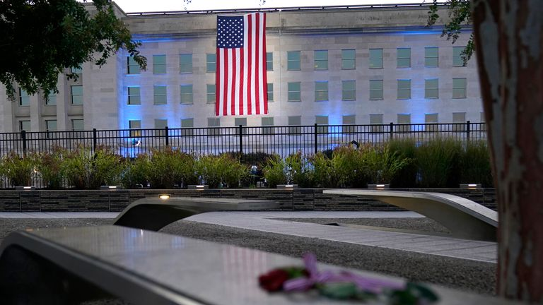 An American flag is unfurled at the Pentagon in Washington. Pic: AP