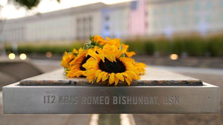 Flowers at the Pentagon 9/11 memorial. Pic: AP