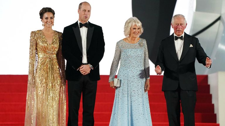 (left to right) The Duke of Cambridge, the Duchess of Cambridge, the Duchess of Cornwall and the Prince of Wales attending the World Premiere of No Time To Die, held at the Royal Albert Hall in London. Picture date: Tuesday September 28, 2021.