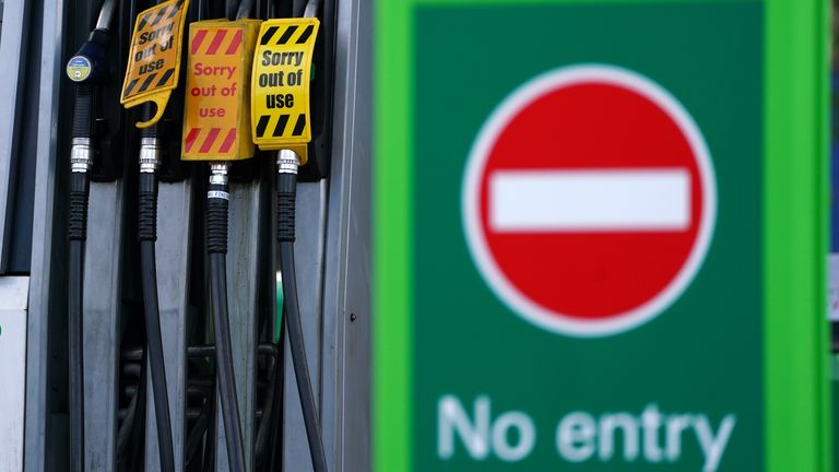 A sign on fuel pumps showing no petrol available at a BP garage in Grangemouth