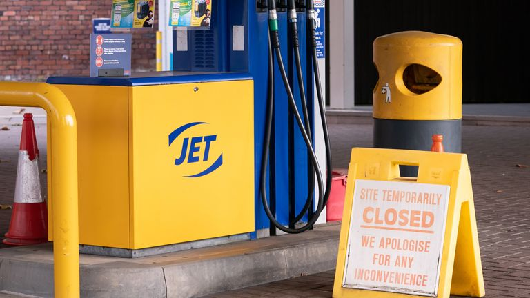 A closed sign on the forecourt of a petrol station in Leeds