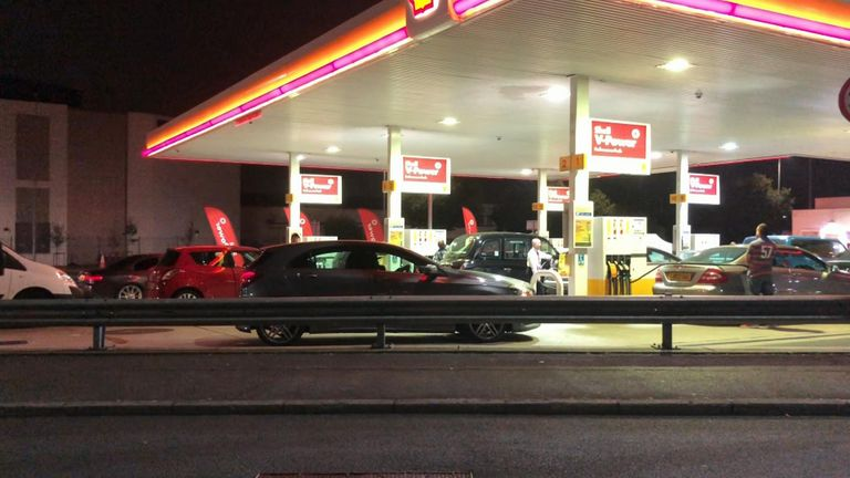 Petrol queues on a forecourt in west London at 4am on Saturday