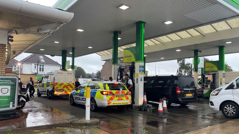 Petrol station in West London  -  received it's fuel delivery at 7am, but queues had built long before then. Staff have been out, acting as marshals, trying to avoid queues spilling onto the A4 while getting people through as swiftly as they can. They've also closed off two pumps for emergency services.