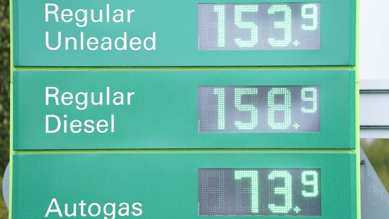 Fuel prices at a BP service station in Wetherby near Leeds.